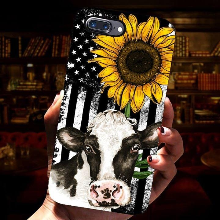 Cow American flag sunflower phone case