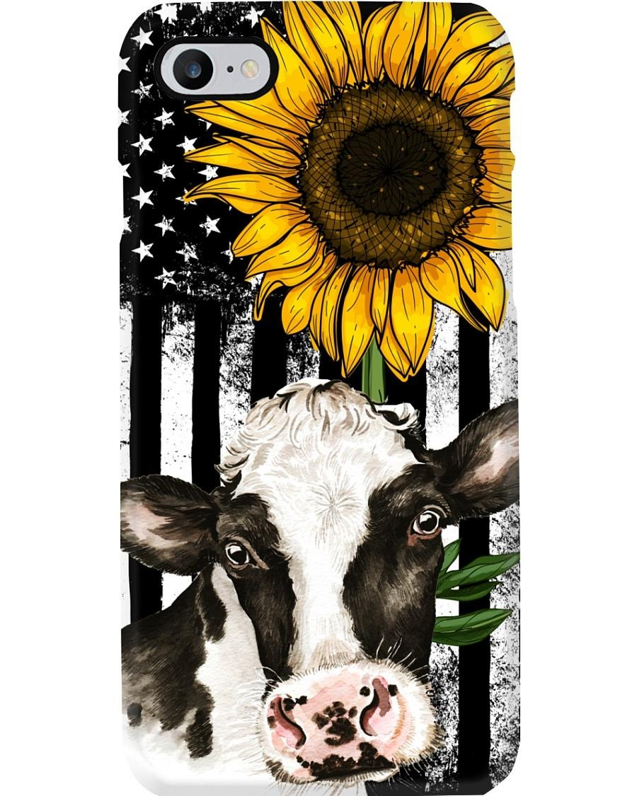 Cow American flag sunflower phone cool case
