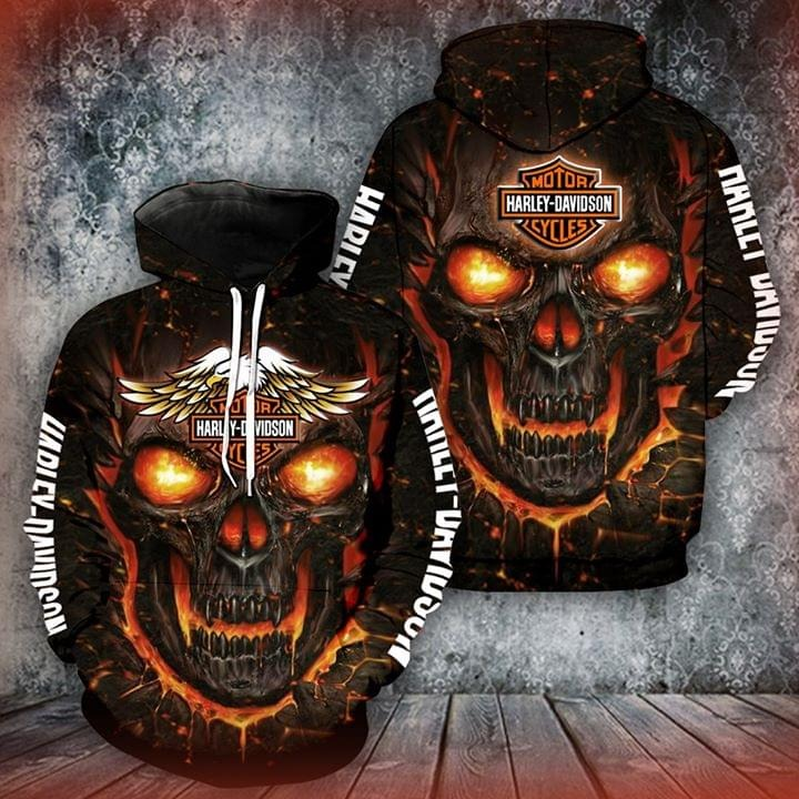 Fire skull Harley Davidson 3D full print