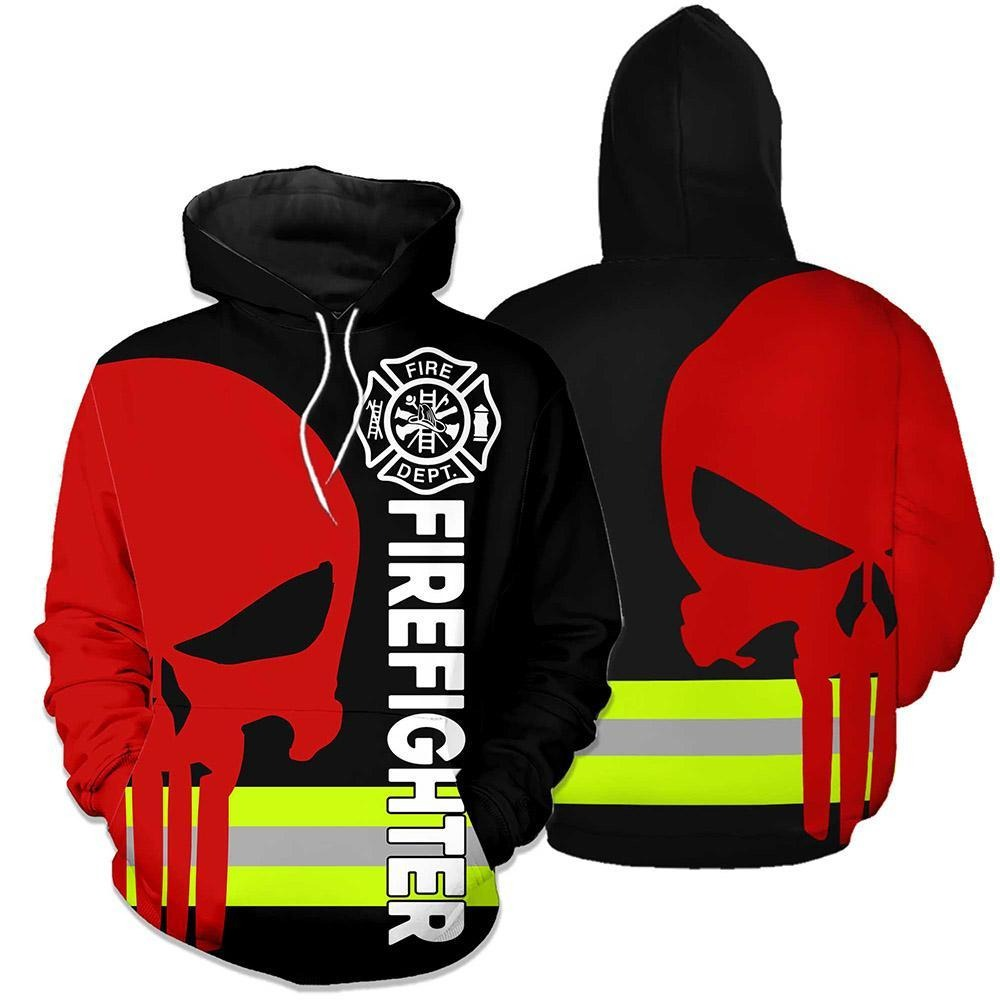 Firefighter dept skull 3d hoodies