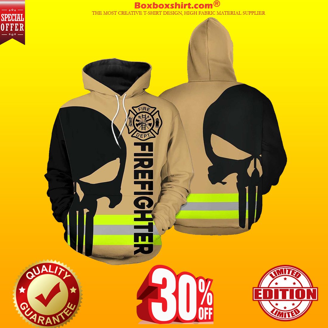 Firefighter skull fire dept 3d shirt