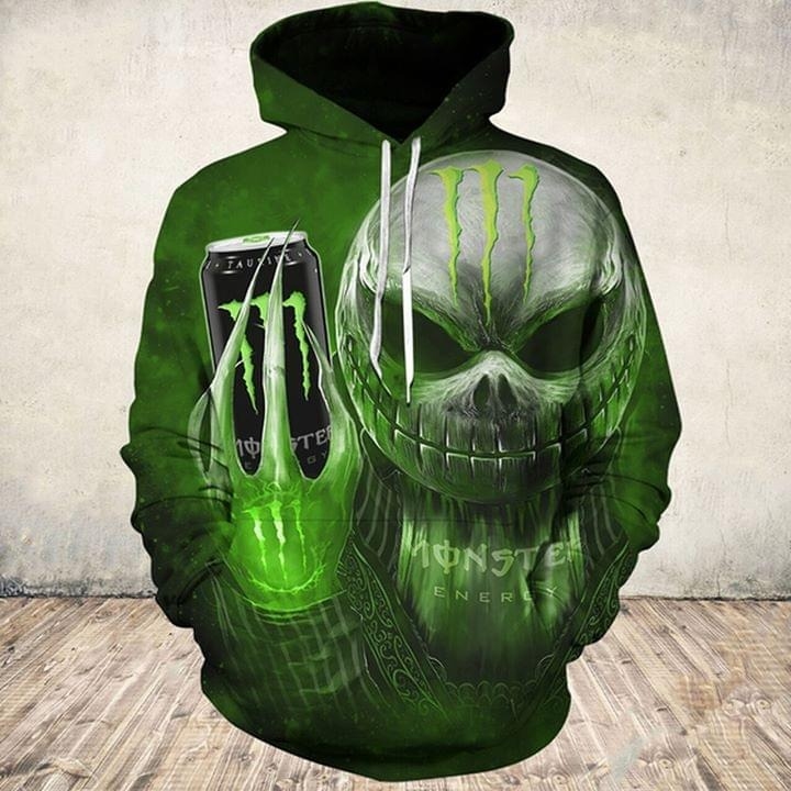 Jack Skellington holding monster energy 3d shirt and hoodie