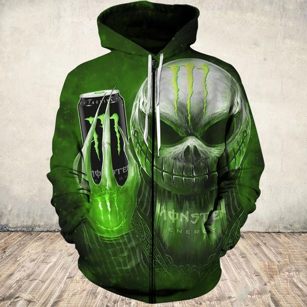 Jack Skellington holding monster energy 3d shirt and zip hoodie