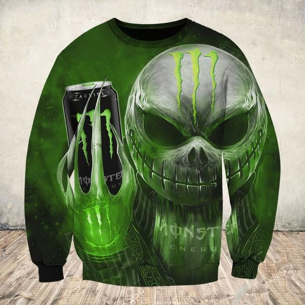 Jack Skellington holding monster energy 3d sweatshirt and hoodie