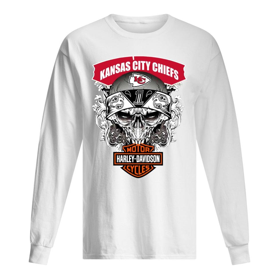 Kansas city chiefs motor Harley davidson men's long sleeved shirt