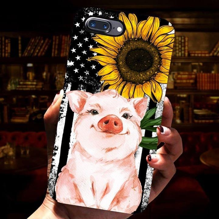 Pig American flag sunflower phone case