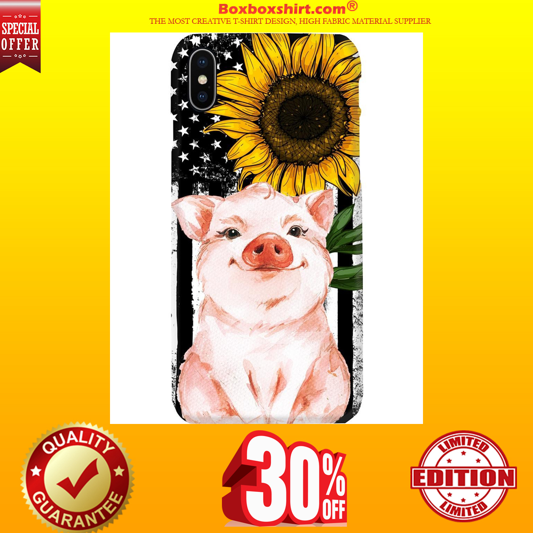 Pig American flag sunflower phone cool case
