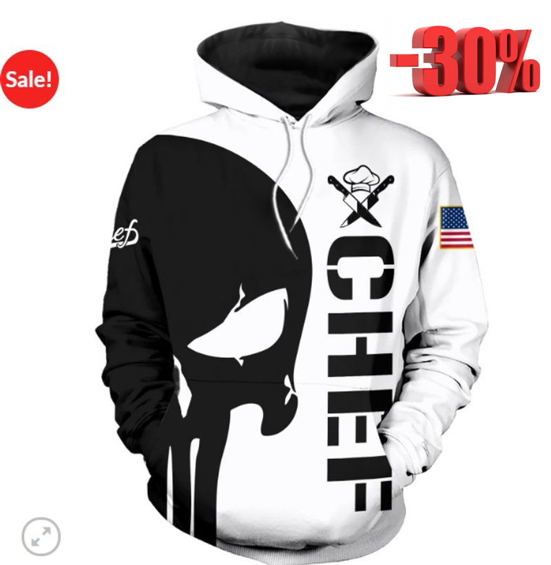 Punisher skull Chef 3d cool hoodie