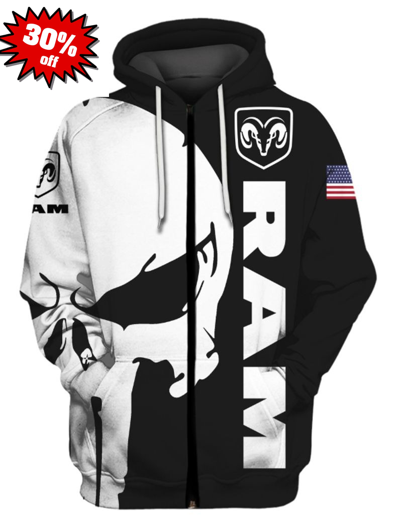Punisher skull Ram 3d cool hoodie