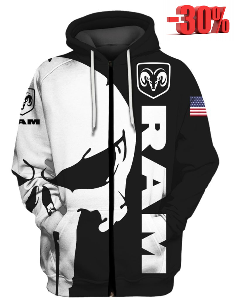 Punisher skull Ram 3d hot hoodie