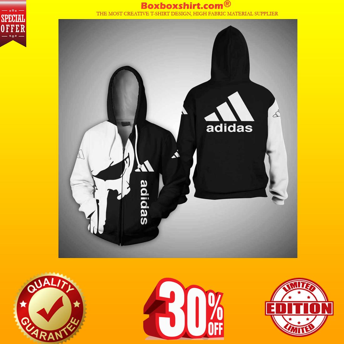 Punisher skull adidas 3d full print shirt and zipper