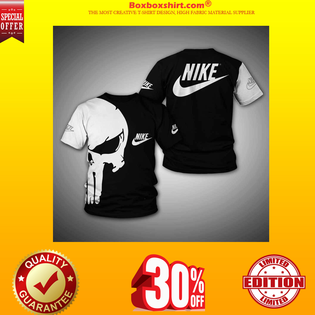Punisher skull nike 3d full print hoodie and shirt