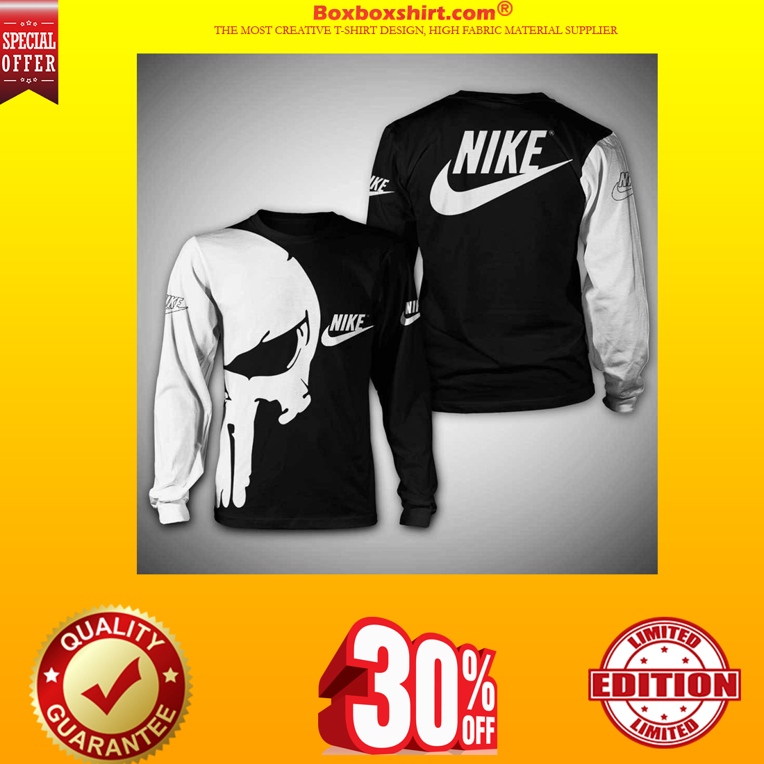 Punisher skull nike 3d full print hoodie and sweatshirt