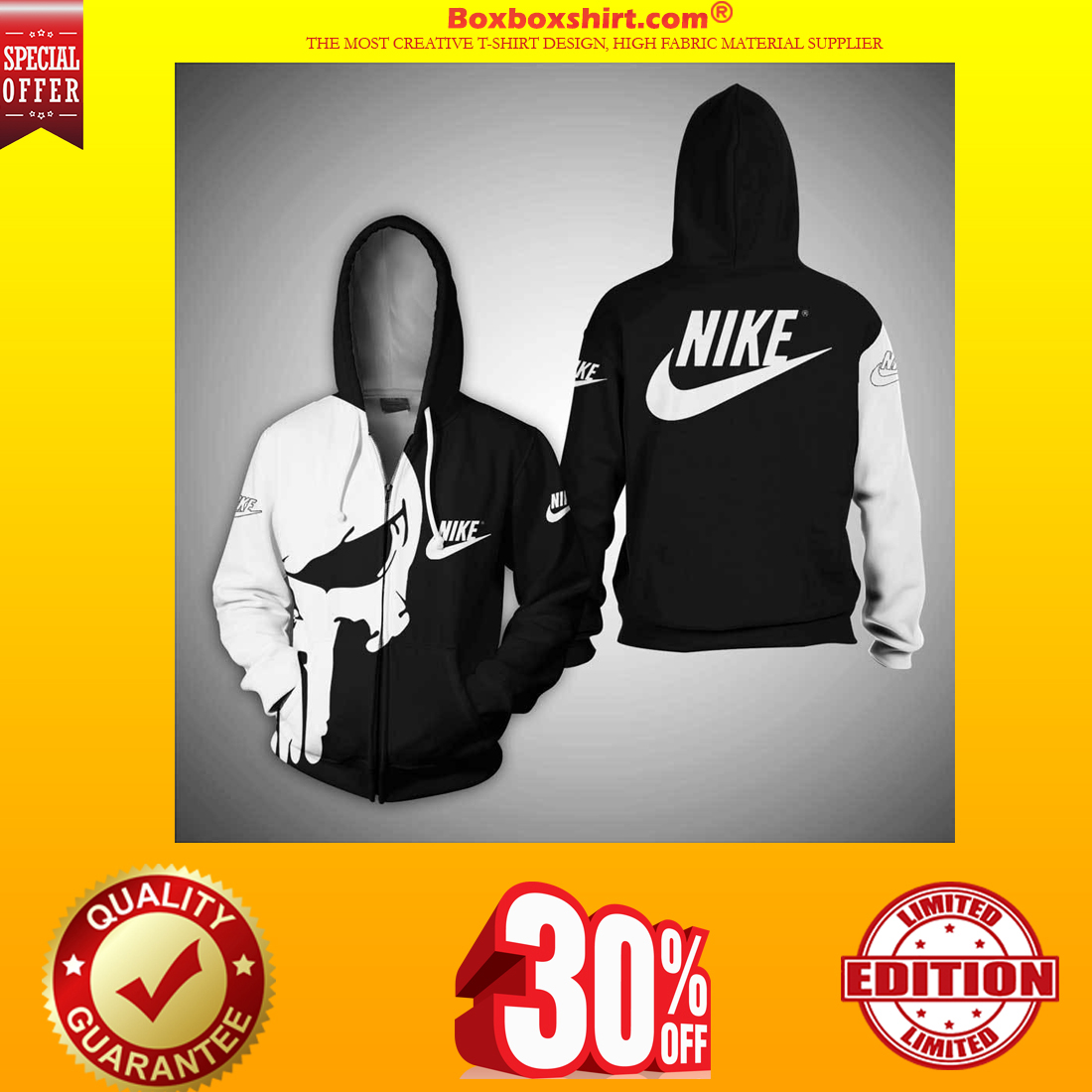 Punisher skull nike 3d full print hoodie and zipper