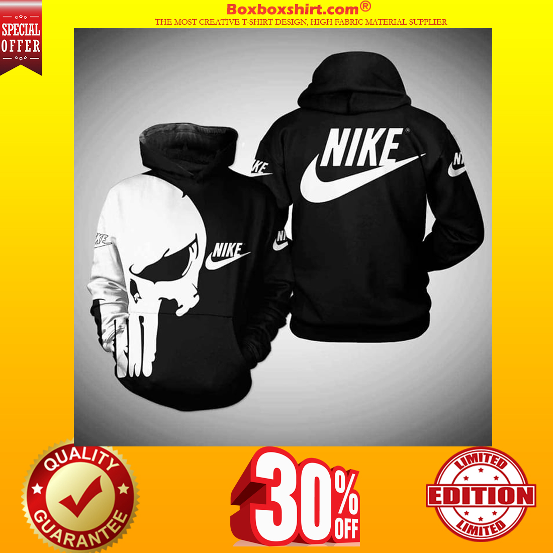 Punisher skull nike 3d full print hoodie