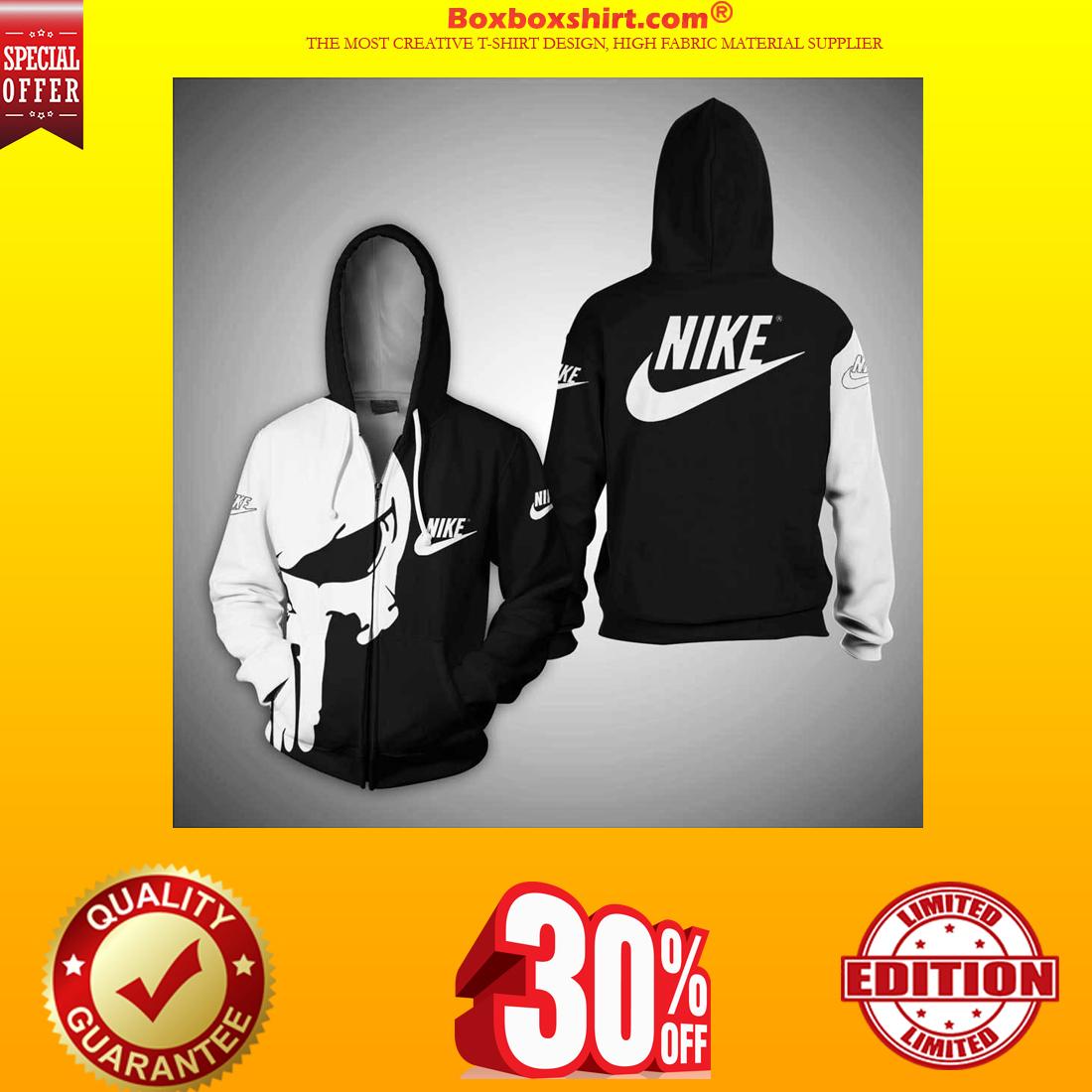 Punisher skull nike 3d full print shirt and zipper