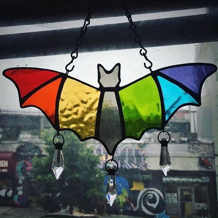 Rainbow bat suncatcher