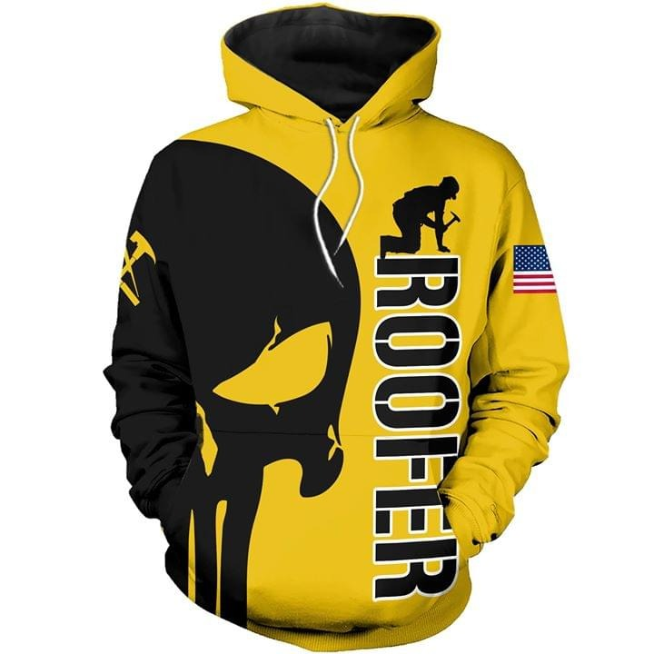 Roofer skull 3D hoodie