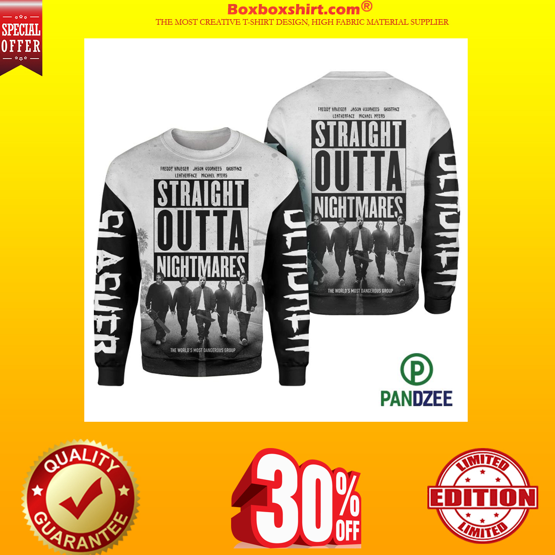 Straight outta nightmares 3d long sleeved shirt