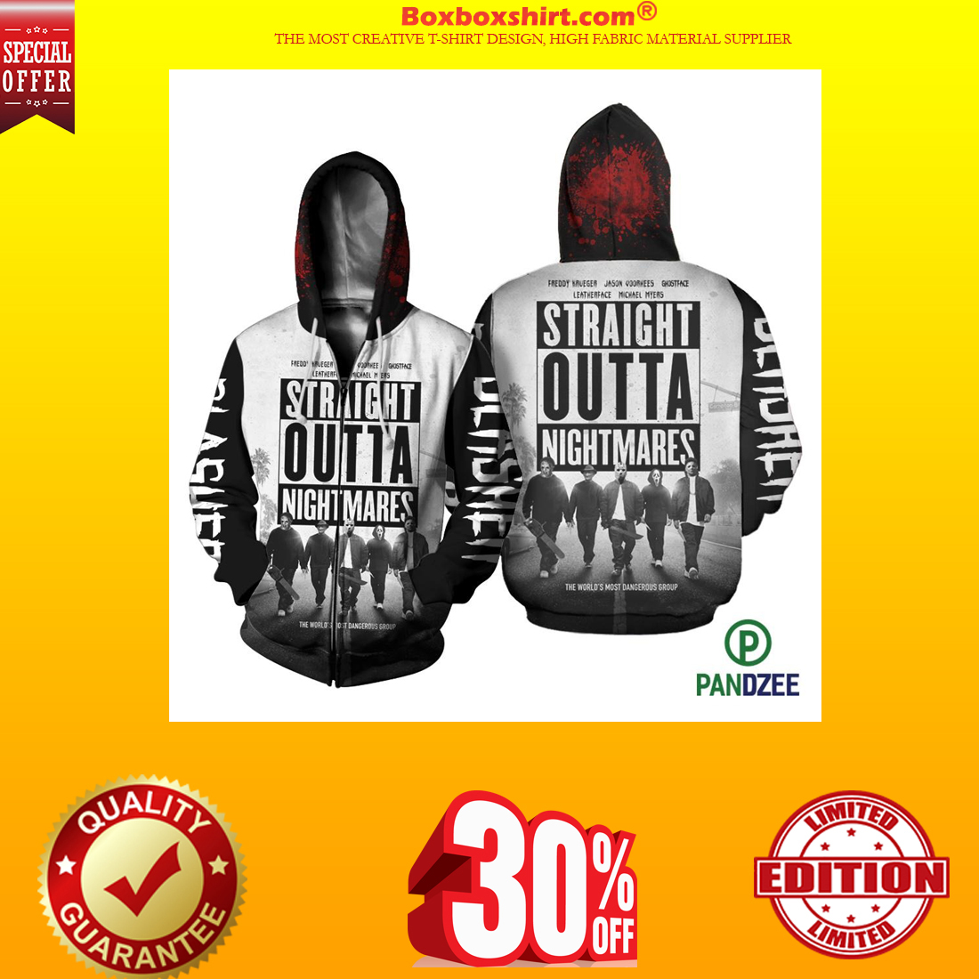 Straight outta nightmares 3d shirt and zipped hoodie