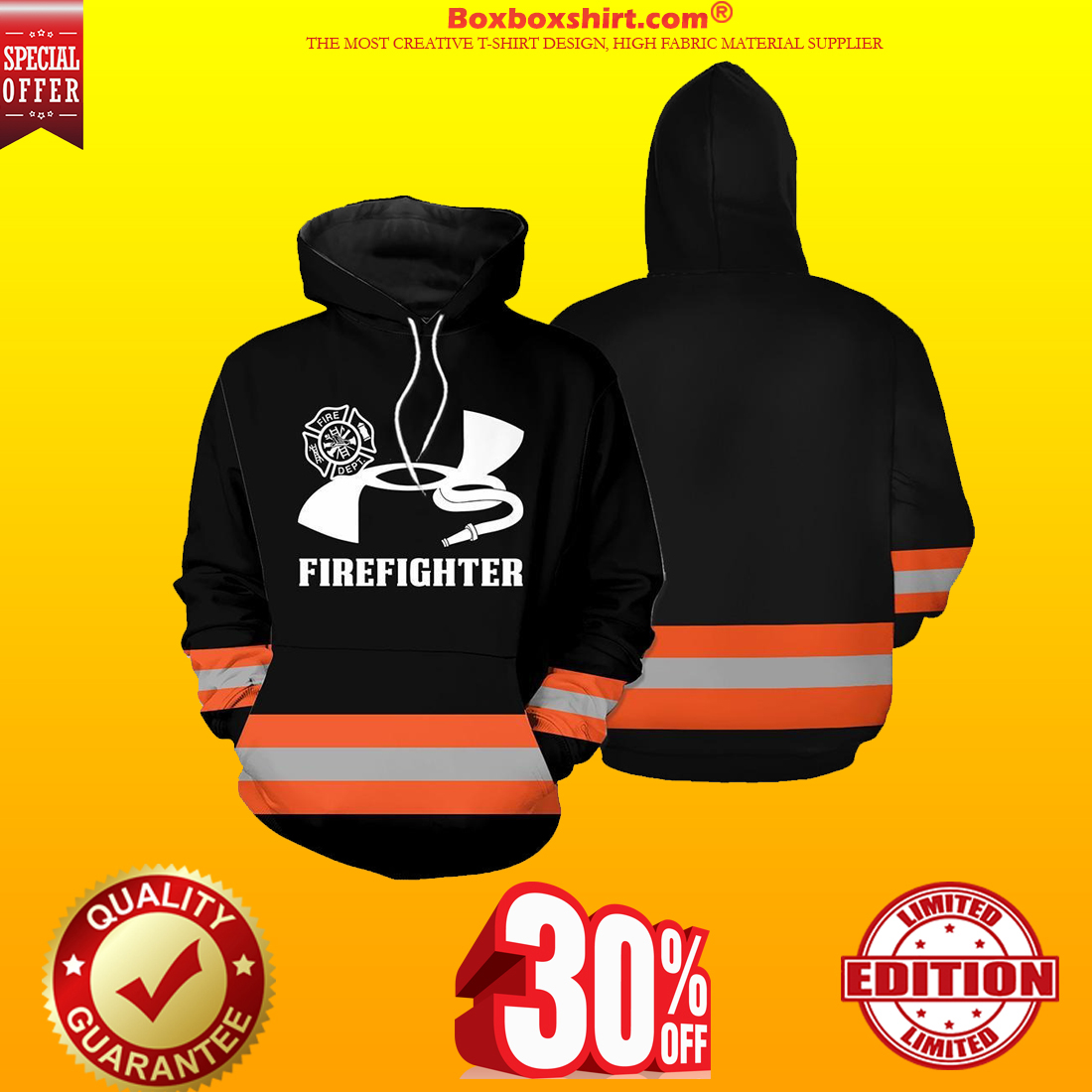 Under Armour firefighter 3d hoodie cool shirt