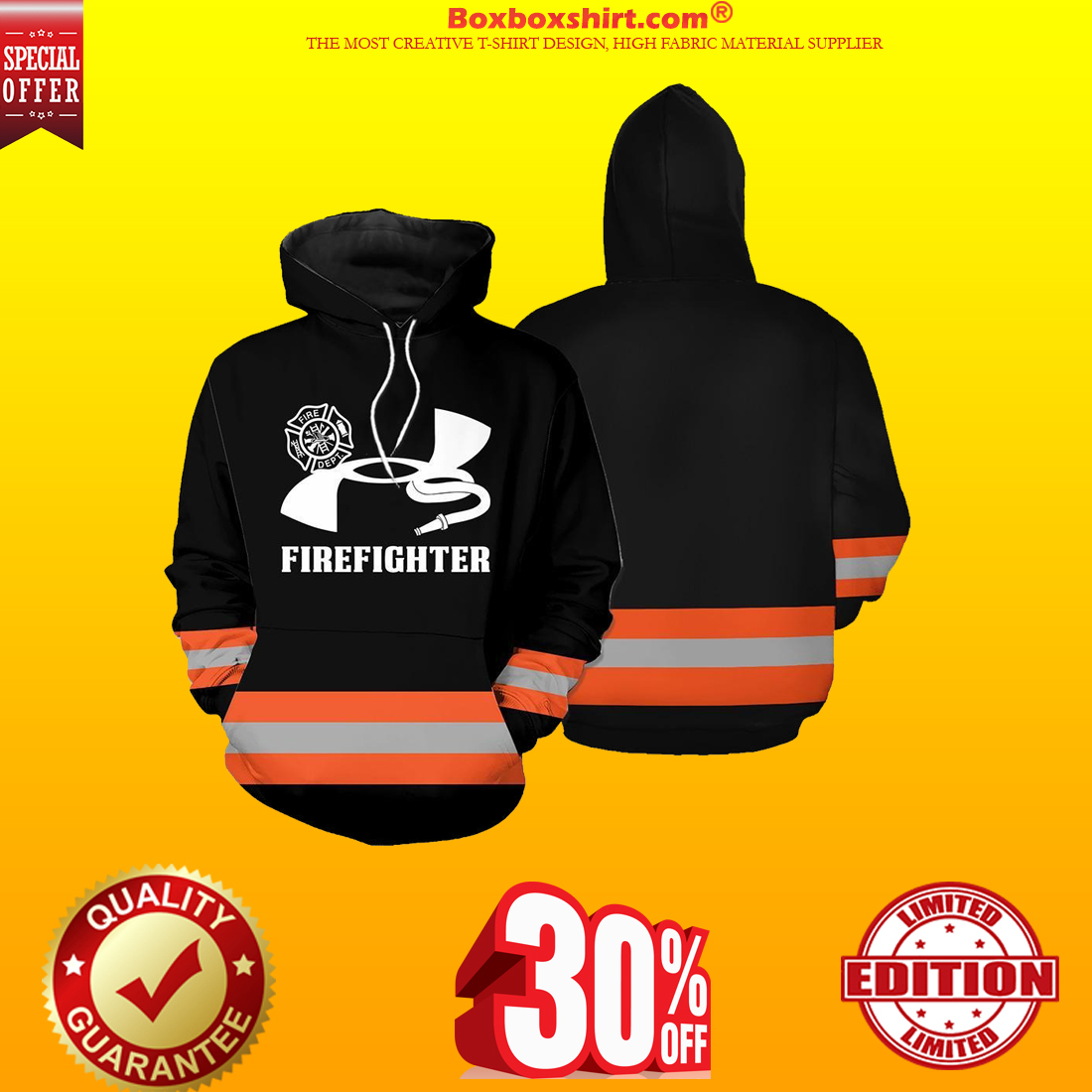 Under Armour firefighter hoodie and shirt orange line 3d