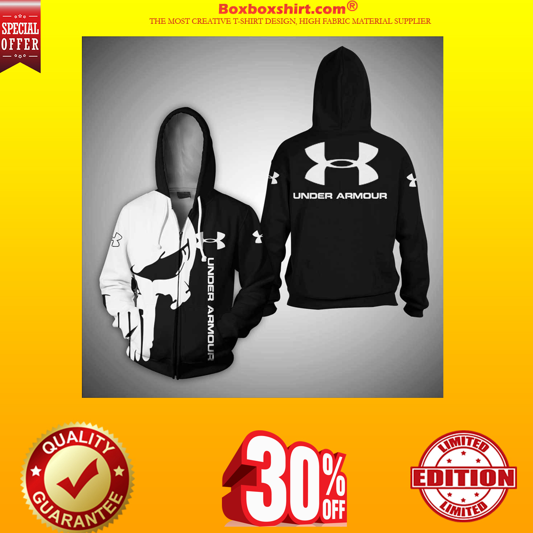 Under Armour skull 3d shirt and hoodie and zipper