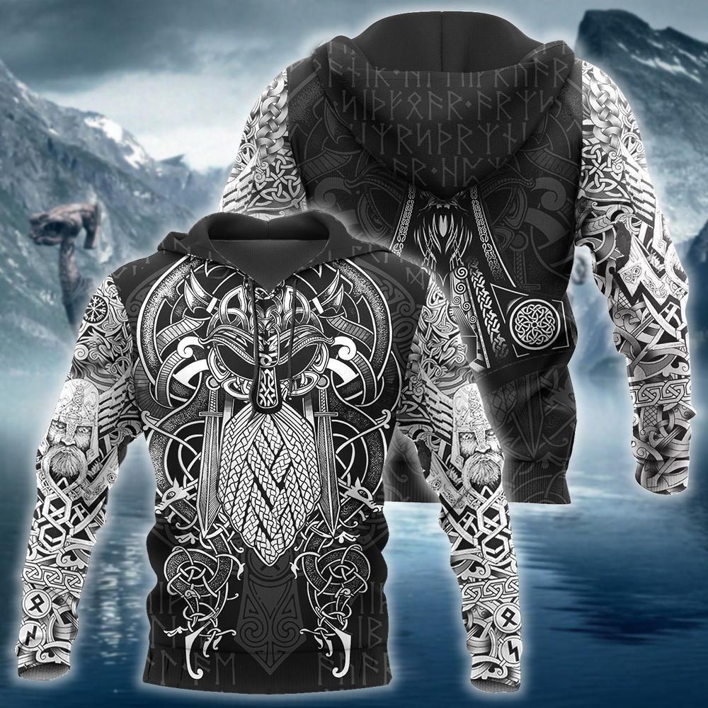 Viking odin tatoo 3d hoodie