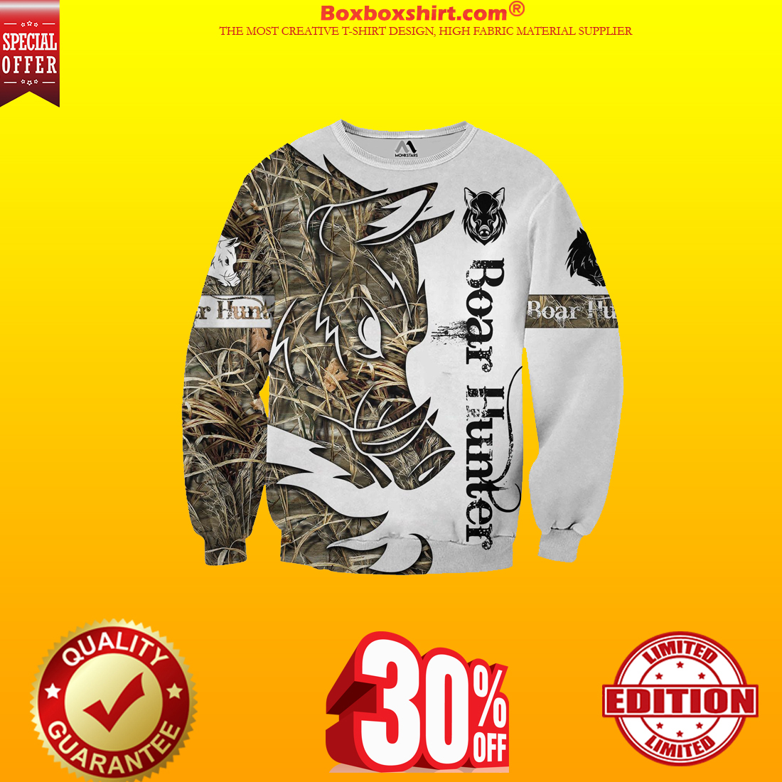 Boar Hunter all over print 3d hoodie and long sleeved shirt