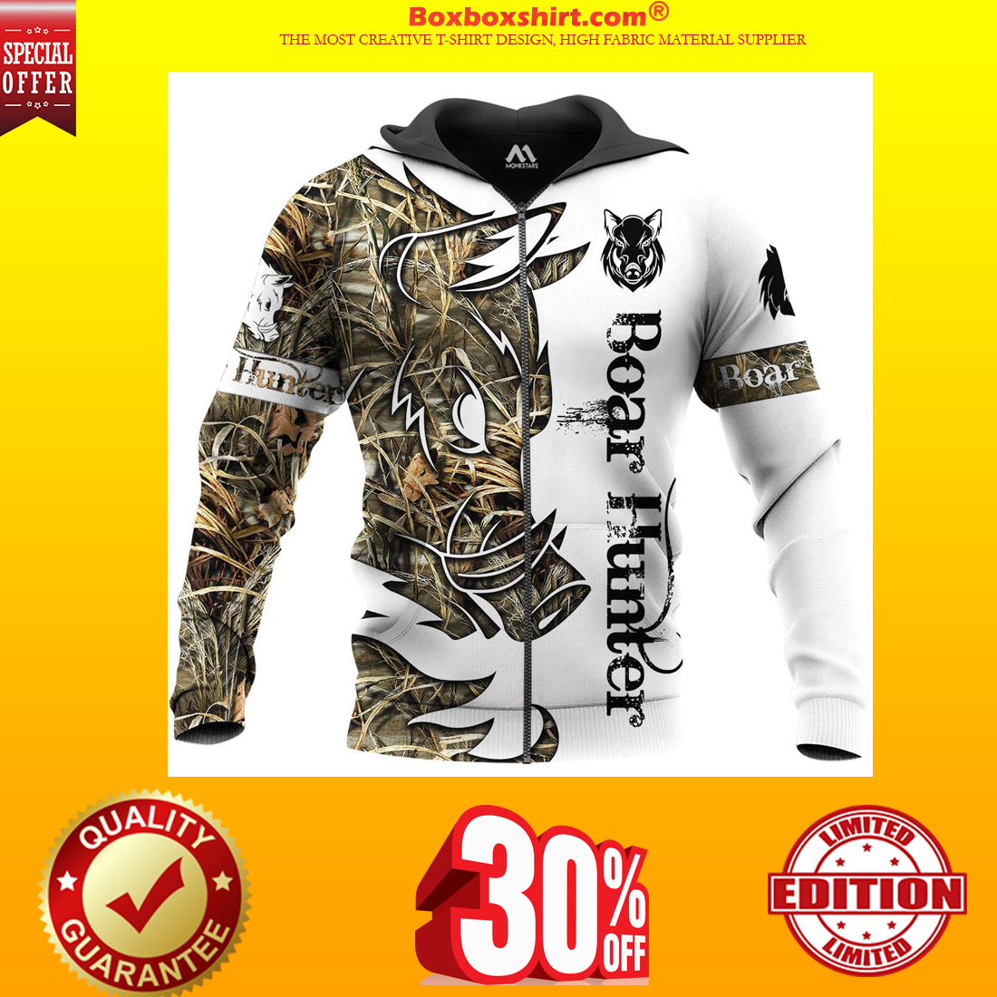 Boar Hunter all over print 3d hoodie and zip