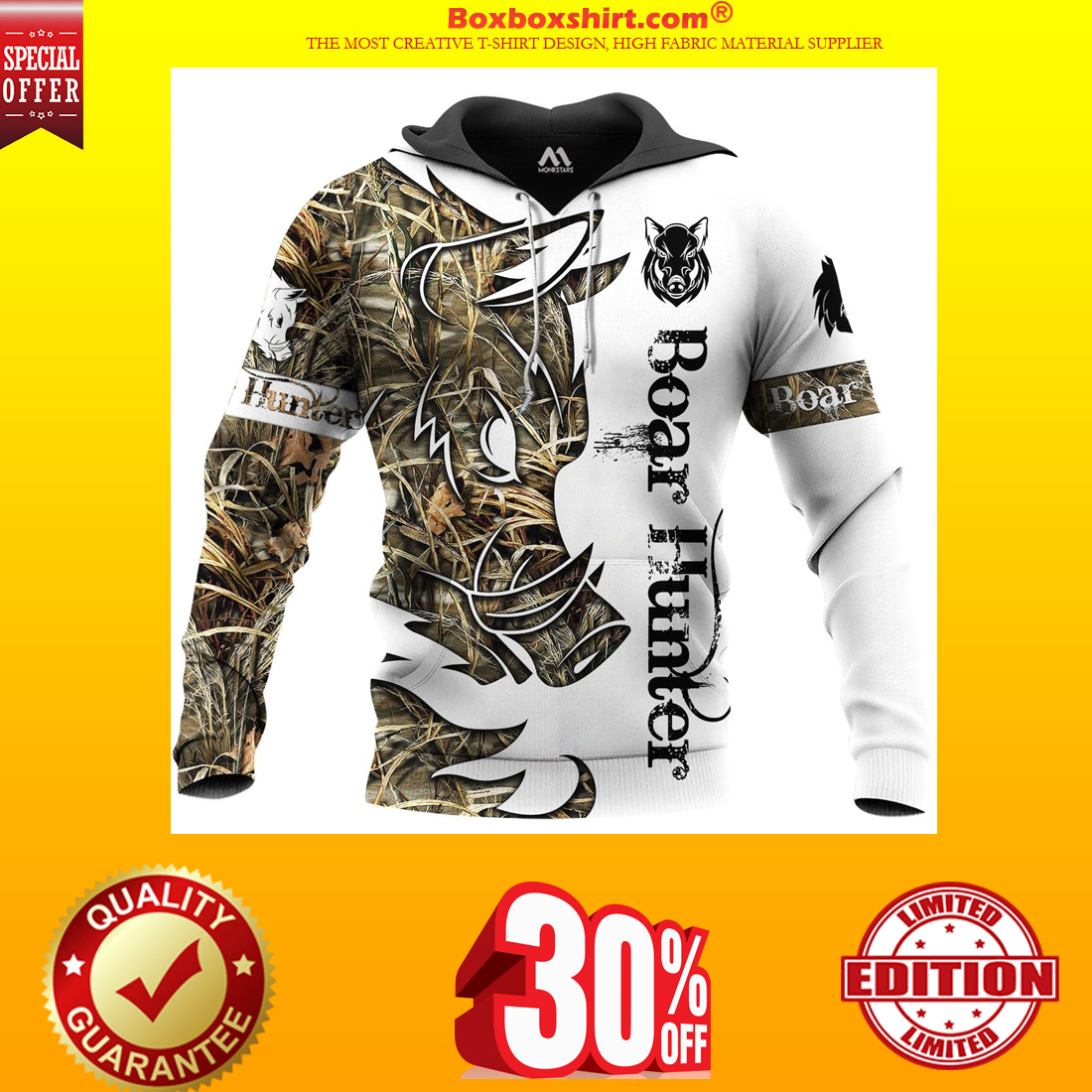 Boar Hunter all over print 3d hoodie