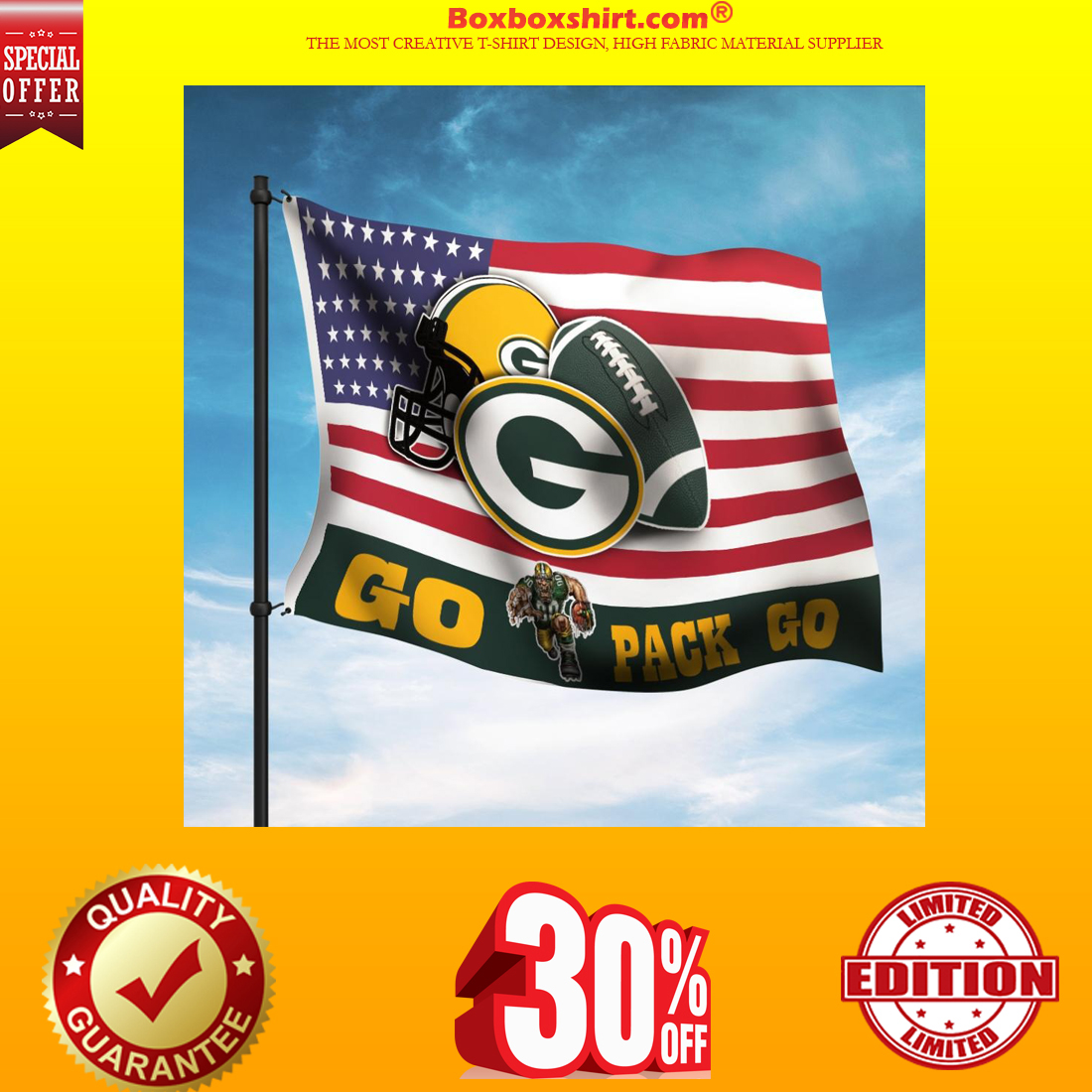 Green Bay Packers go pack american flag