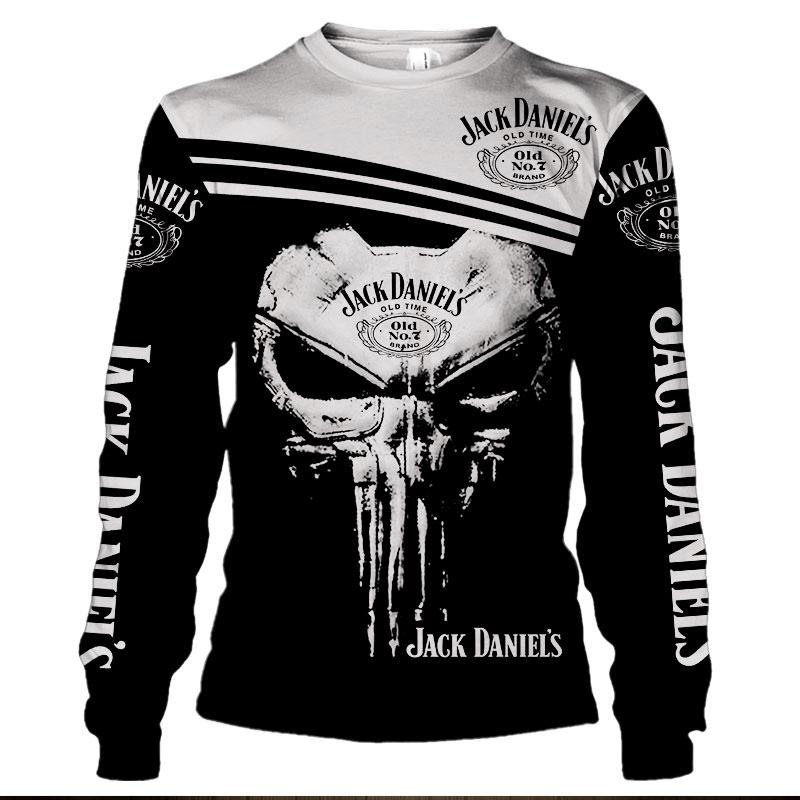 Jack Daniel's skull 3d hoodie and long sleeved shirt