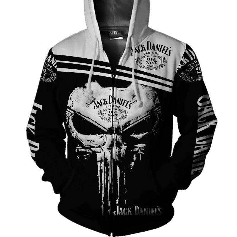 Jack Daniel's skull 3d zip hoodie