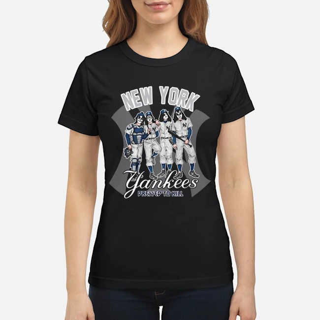 Kiss band New York Yankees pressed to kill classic shirt