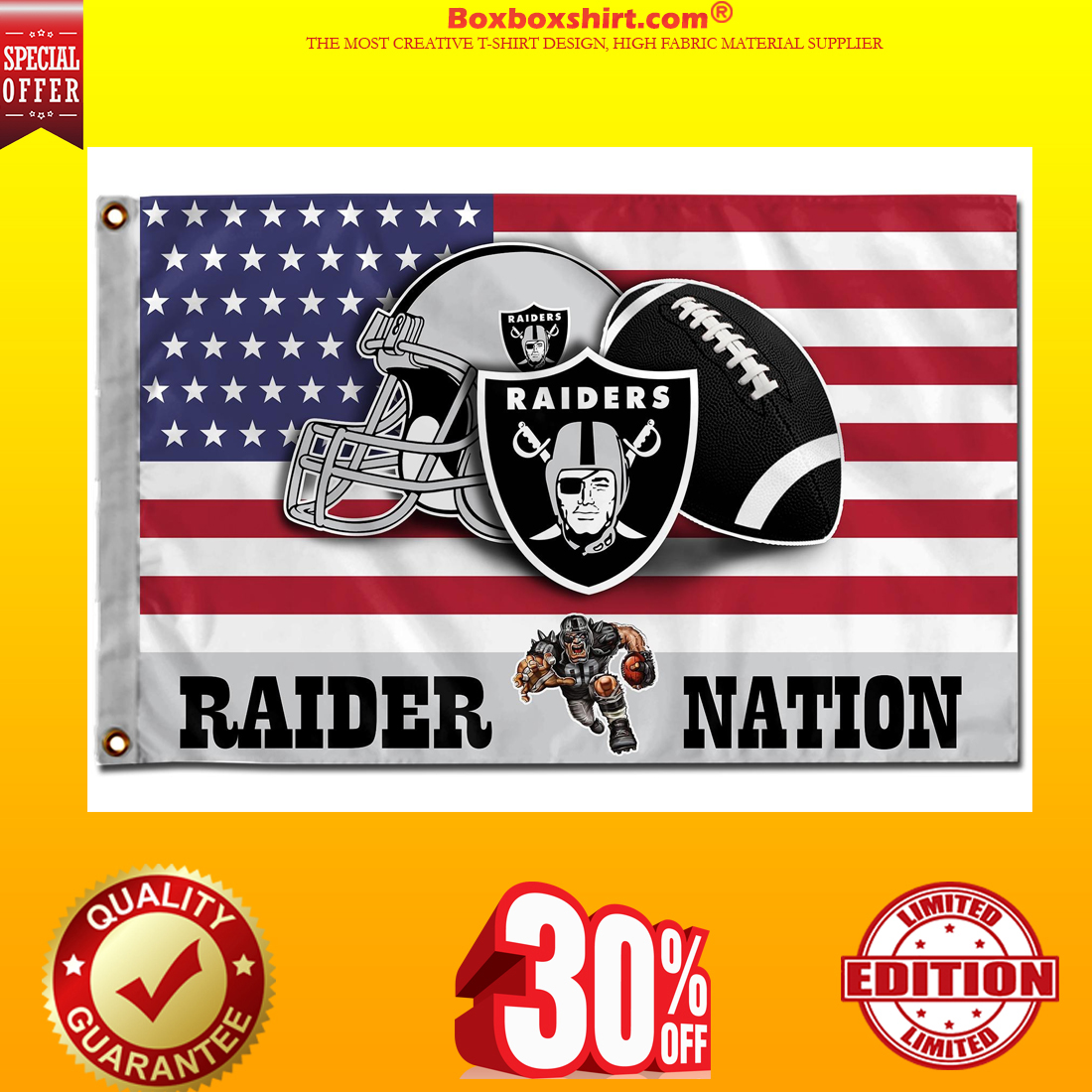 Oakland Raider Nation American flags