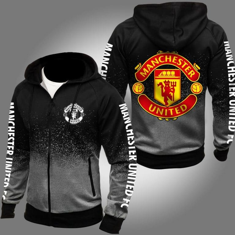 Manchester United 3d over print grey hoodie