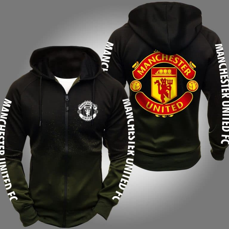 Manchester United 3d over print olive hoodie