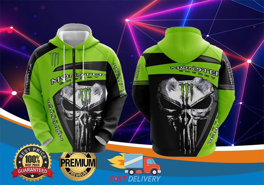 Skull monster energy 3d cool hoodie