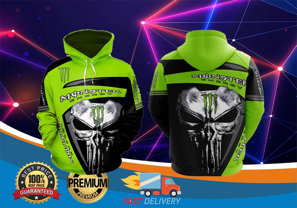 Skull monster energy 3d hot hoodie