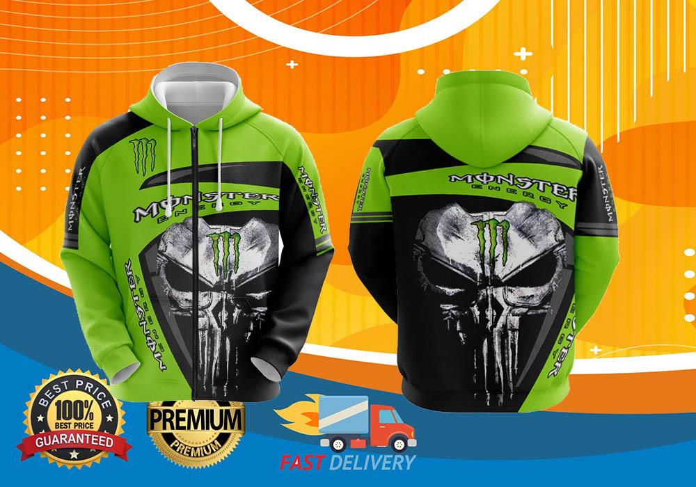 Skull monster energy 3d zip hoodie