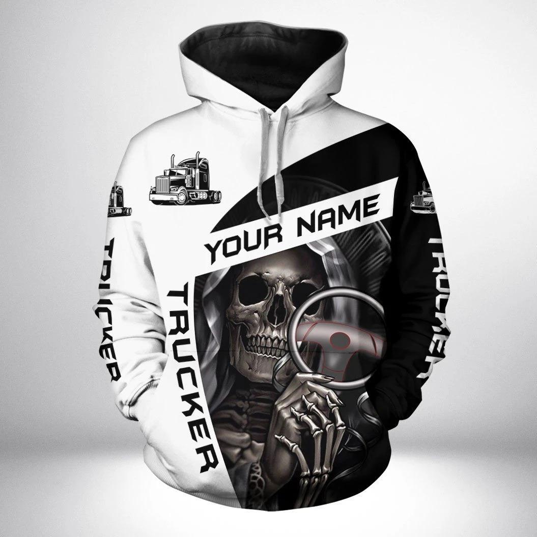 Skull trucker custom name 3d hoodie