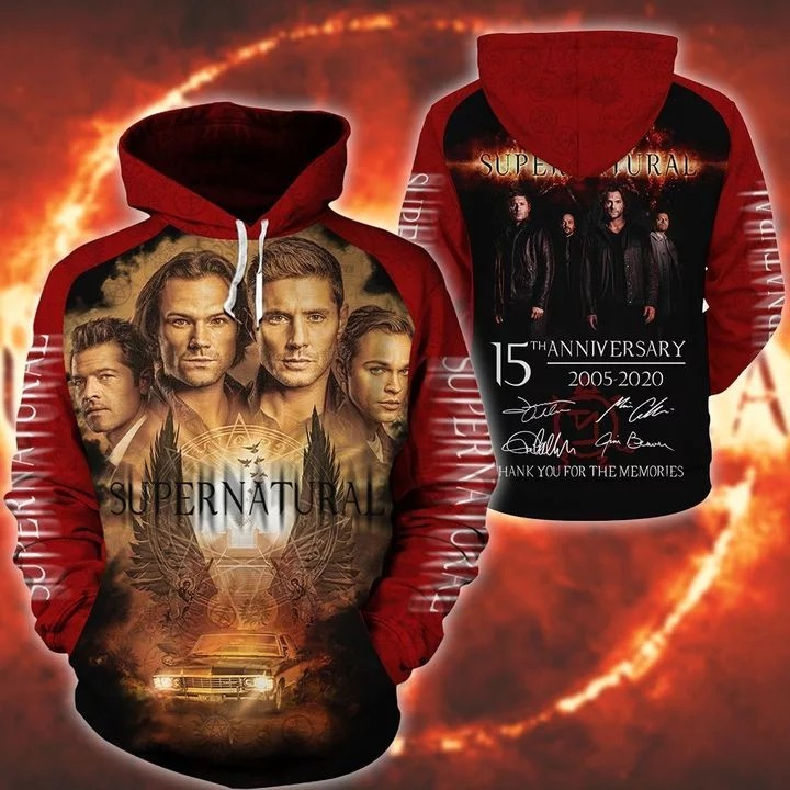 Supernatural 15th anniversary 2005 2020 3d hoodie