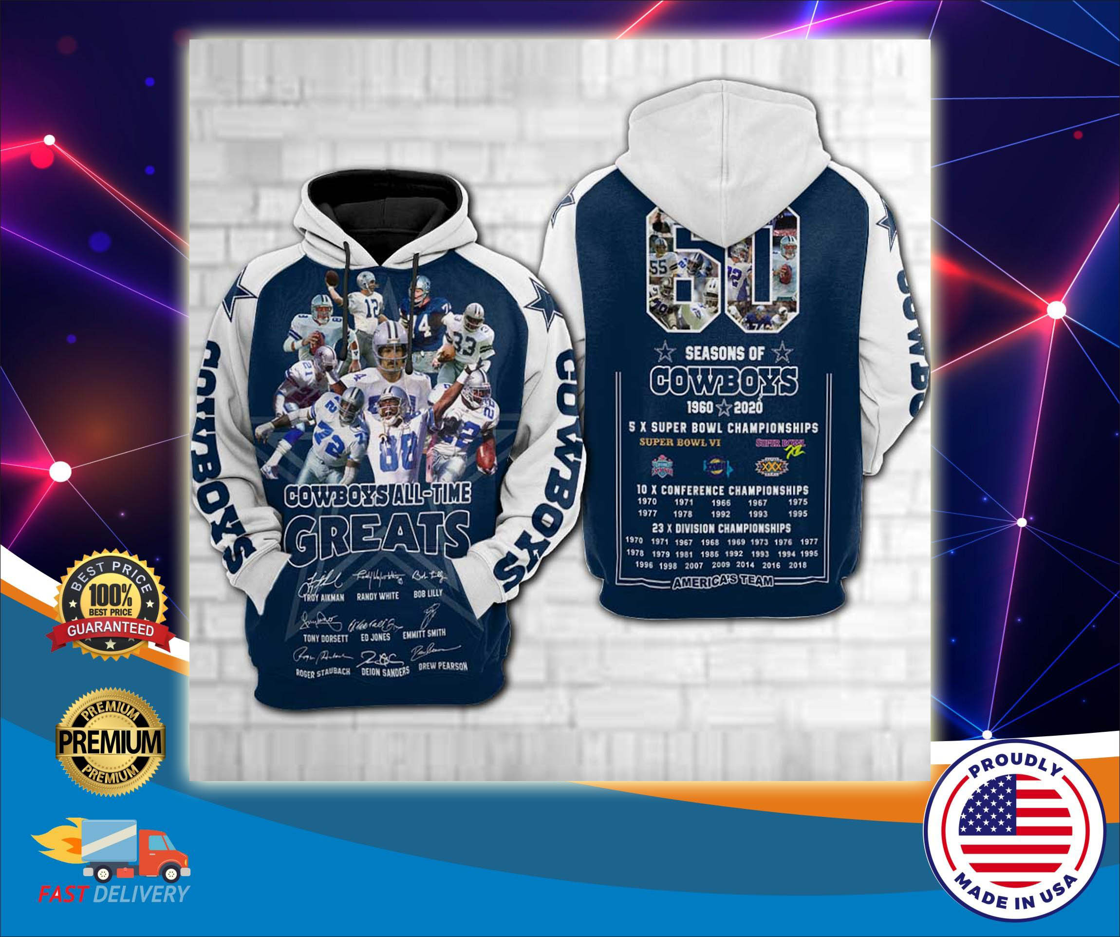 Dallas Cowboys all time greats 3d cool hoodie