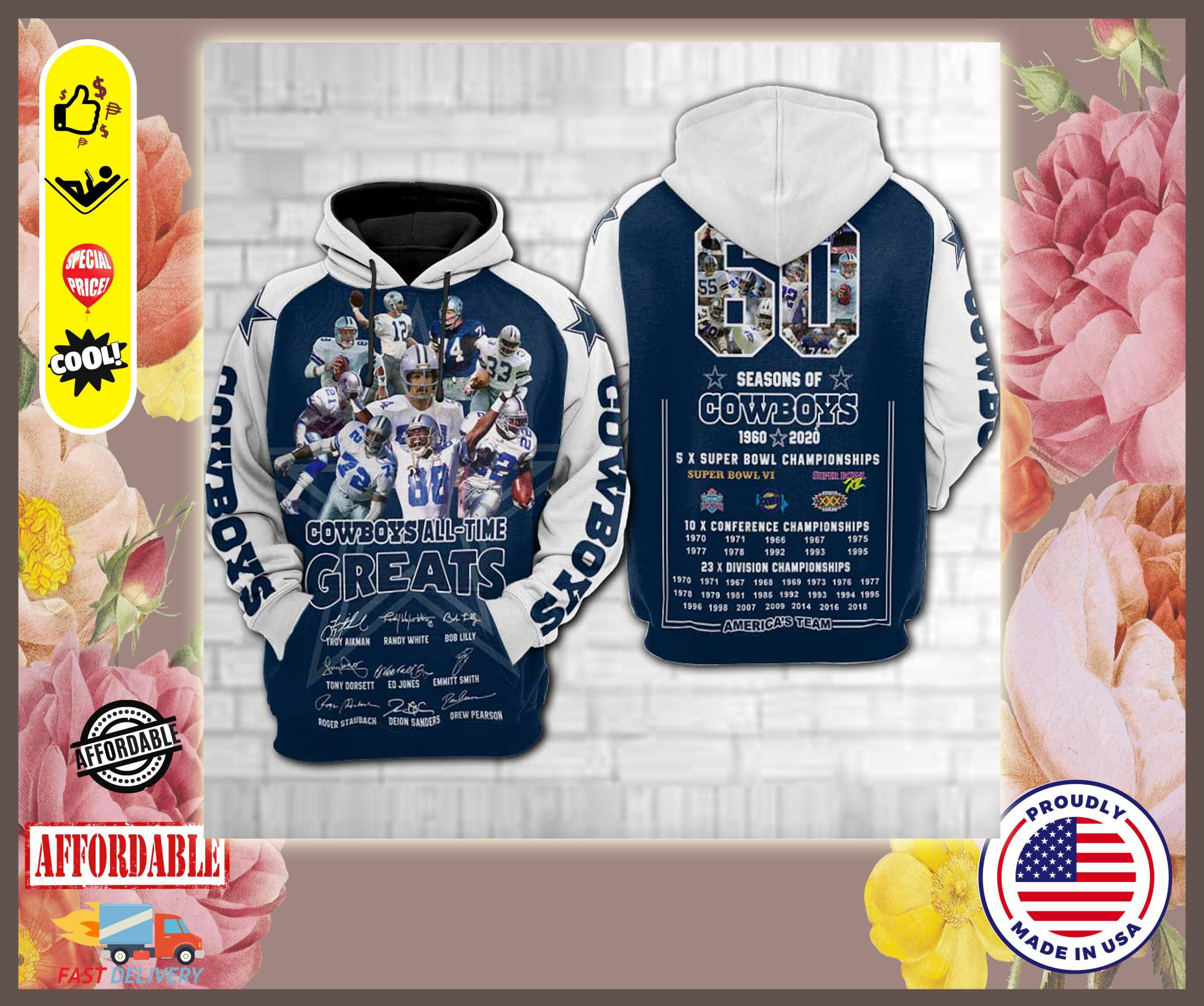 Dallas Cowboys all time greats 3d hoodies