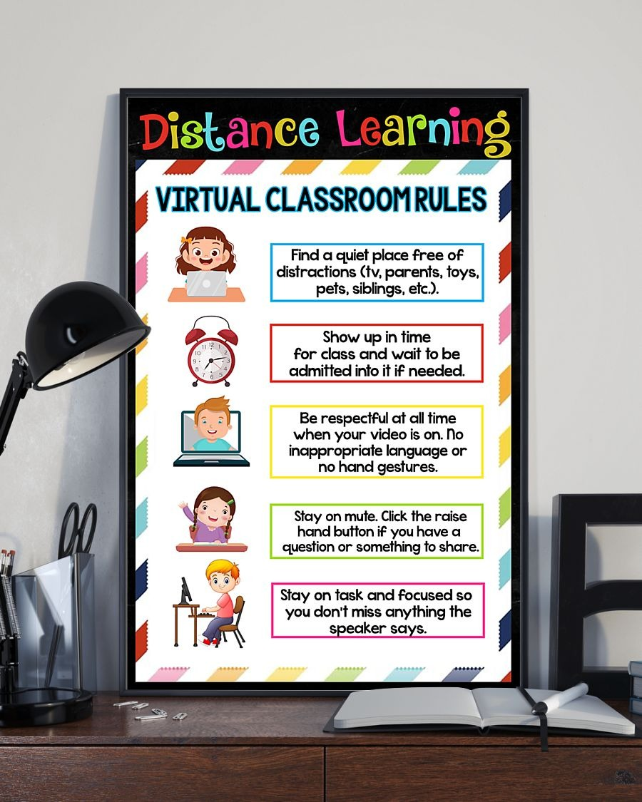 Distance learning virtual classroom rules poster 1