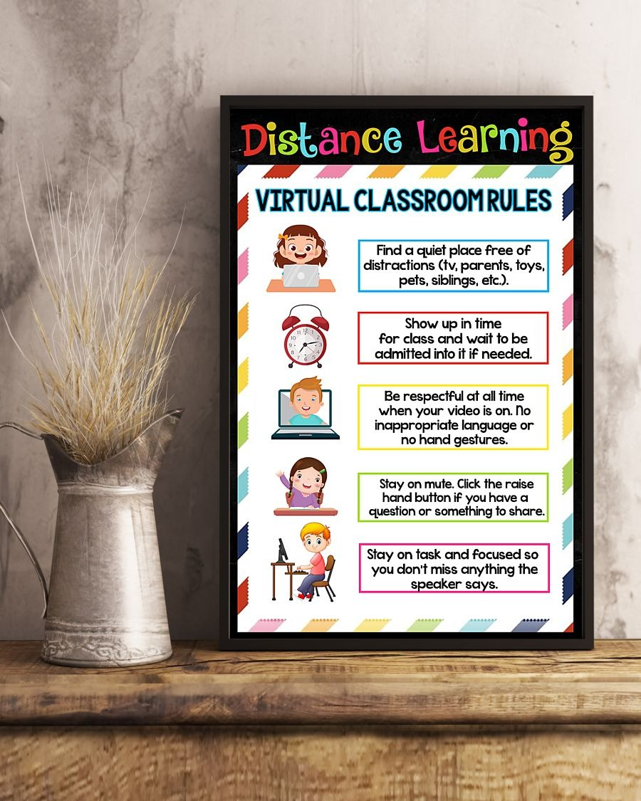 Distance learning virtual classroom rules poster 2