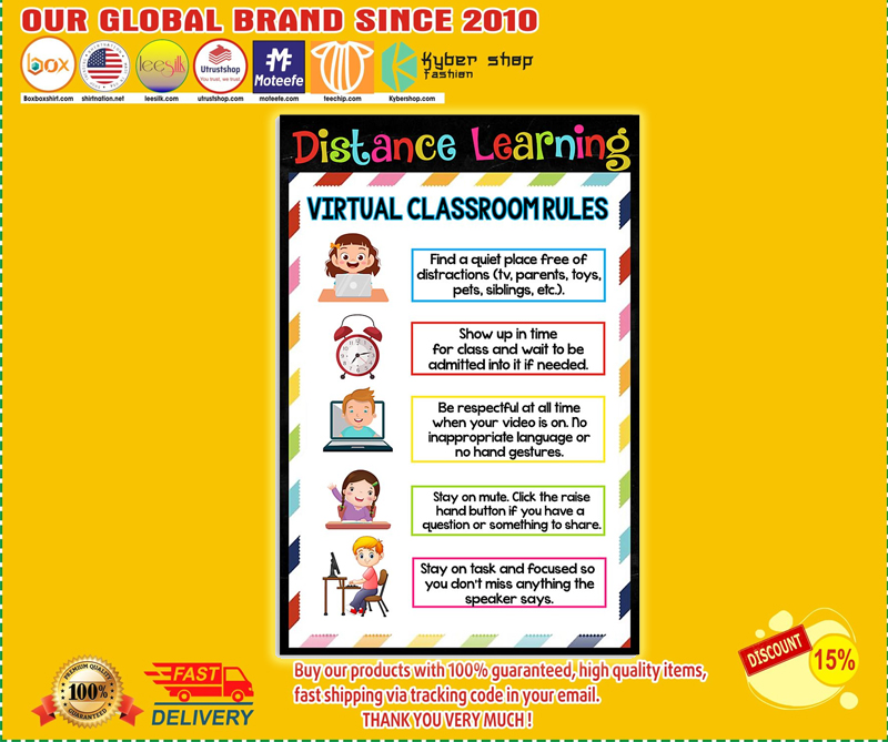 Distance learning virtual classroom rules poster