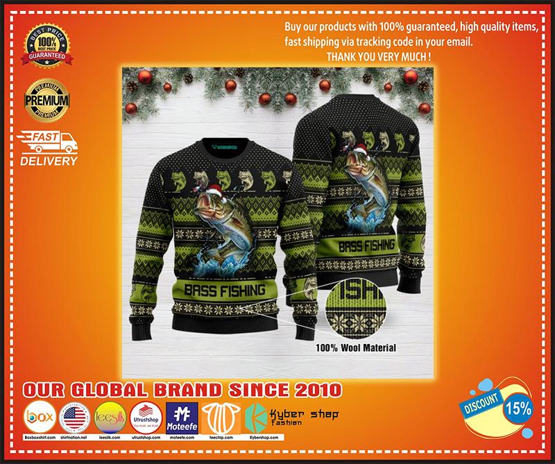 Bass fishing ugly christmas sweater