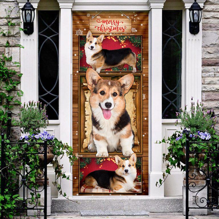 Corgi Christmas Door Cover